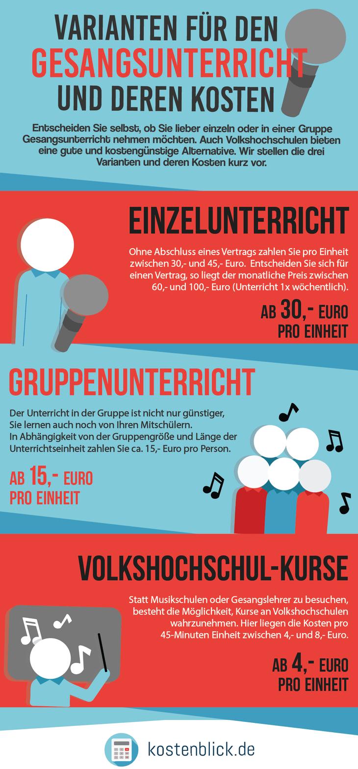 Infografik zu den Kosten und Varianten für den Gesangsunterricht